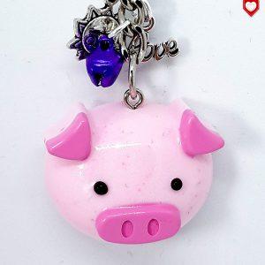 Glücksschwein mit Glöckchen Anhänger