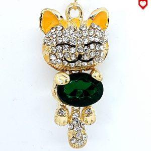 Anhänger Katze Strass Smaragd