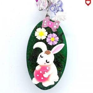 Osterhase mit rosa Ei Anhänger
