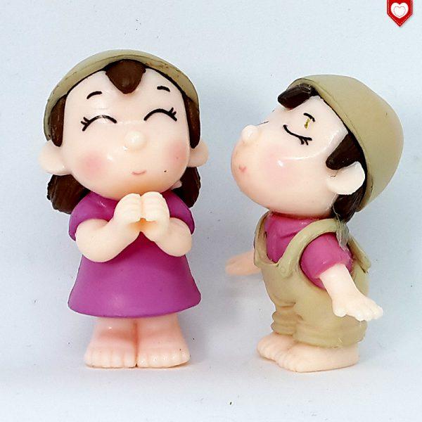 Kinder Paar Zipfelmütze Kuss Romantische Figuren