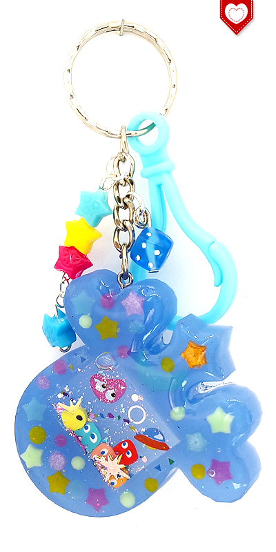 Shaker Anhänger Tamagochi Pacman Herzen Blau