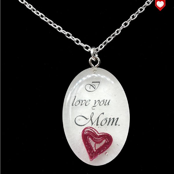 """Kette """"I love you Mom."""" mit Quilling-Herz"""