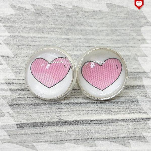 Ohrstecker 12 mm Herz rosa