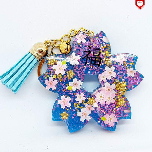 Anhänger Kirschblüte Sakura Glück Quaste Hellblau 03