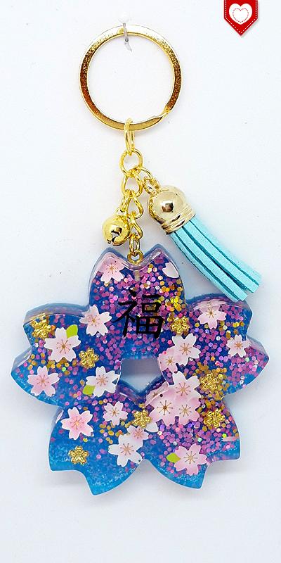 Anhänger Kirschblüte Sakura Glück Quaste Hellblau 02