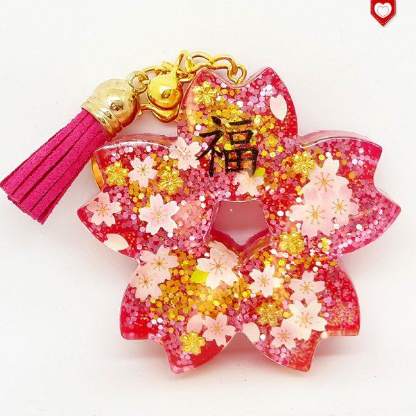 Anhänger Kirschblüte Sakura Glück Quaste Dunkelrot 03