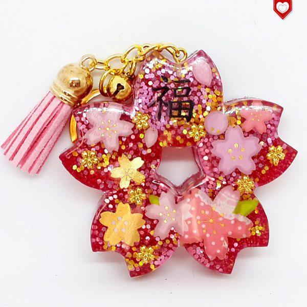 Anhänger Kirschblüte Sakura Glück Quaste Rosa 03