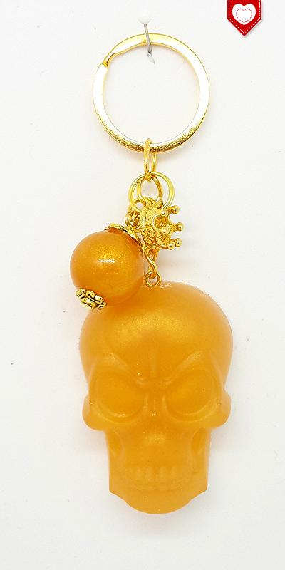 Schlüsselanhänger Totenkopf Schädel Skull Gold 02