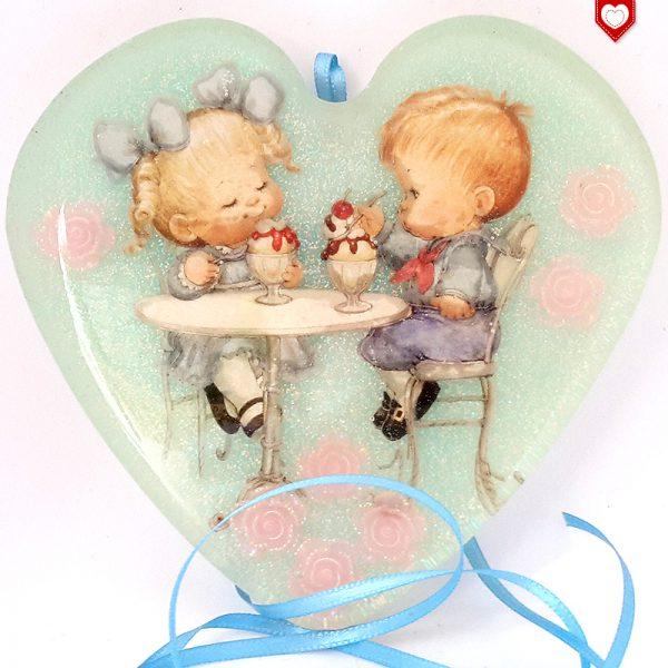 Herz Kunstharz Wandbild Fensterbild Kinder Eisdiele 03