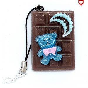 Handyanhänger Schokoladentafel Braun mit Bär 03