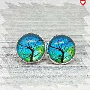 Ohrstecker 12 mm Baum Blau Grün