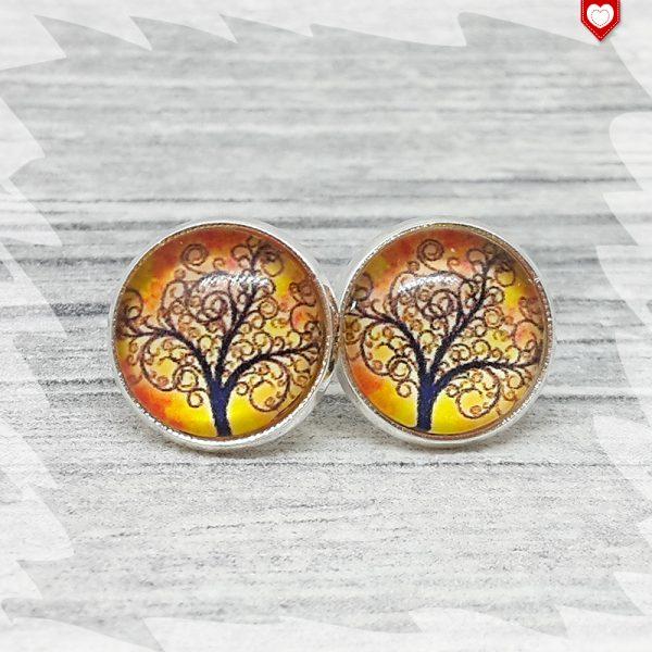 Ohrstecker_12mm_Baum_Orange