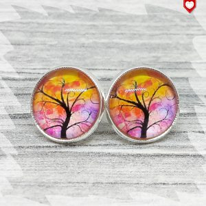Ohrstecker_12mm_Baum_Orange_Pink