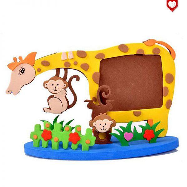 Bastelset Bilderrahmen Giraffen und Affen