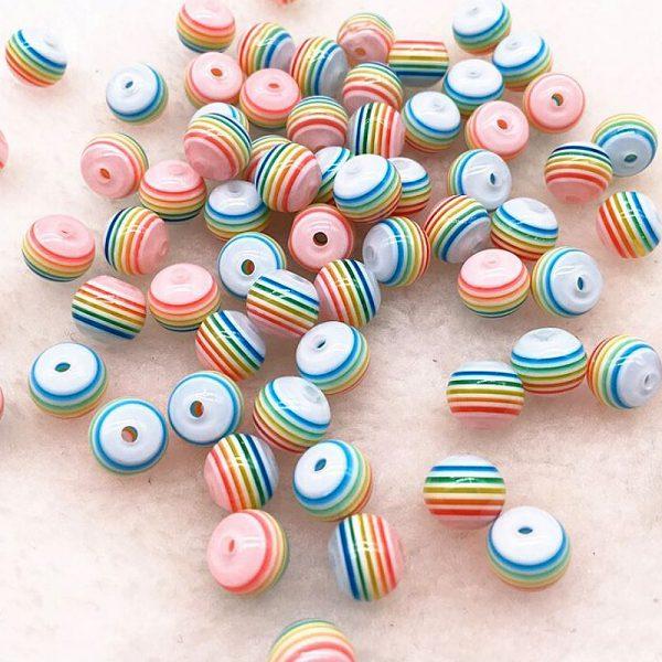 Acryl Perlen gestreift rund 8mm regenbogen