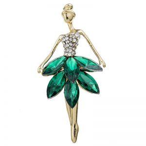 Brosche Ballett Tänzerin Kristall smaragdgrün