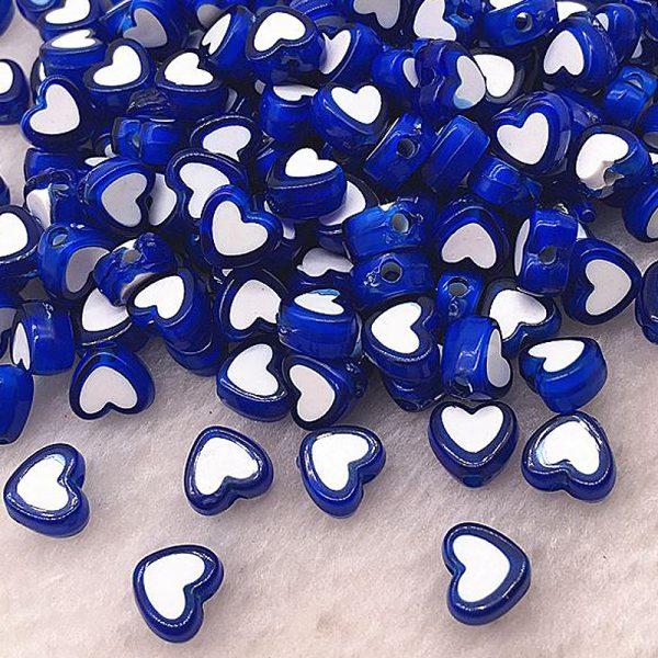 Perlen Herzen 8x4mm 10Stk Blau