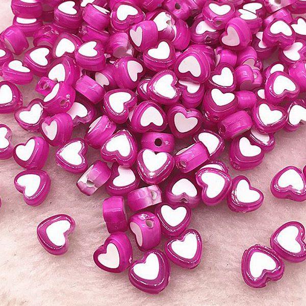 Perlen Herzen 8x4mm 10Stk Flieder