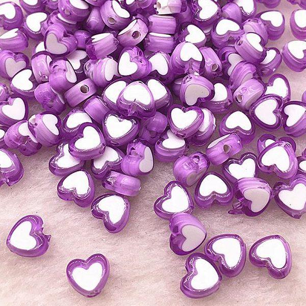 Perlen Herzen 8x4mm 10Stk Lila