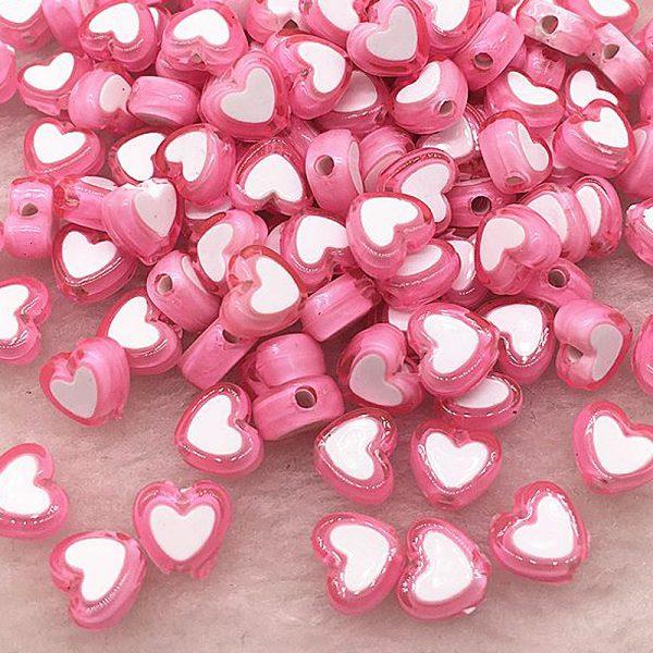 Perlen Herzen 8x4mm 10Stk Rosa