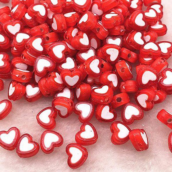 Perlen Herzen 8x4mm 10Stk Rot