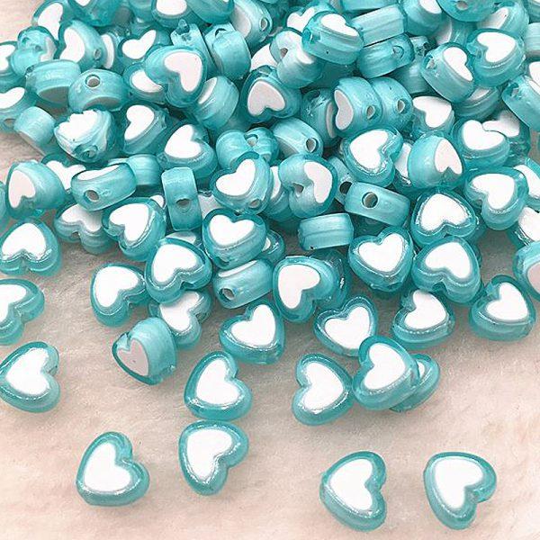 Perlen Herzen 8x4mm 10Stk Tuerkis