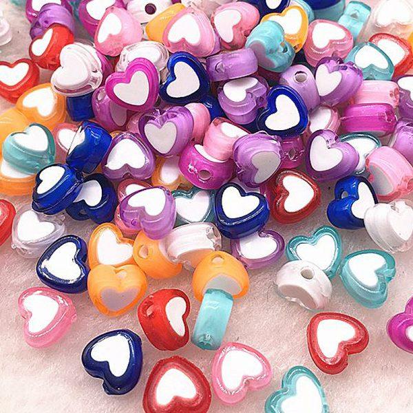 Perlen Herzen 8x4mm verschiedene Farben 10Stk