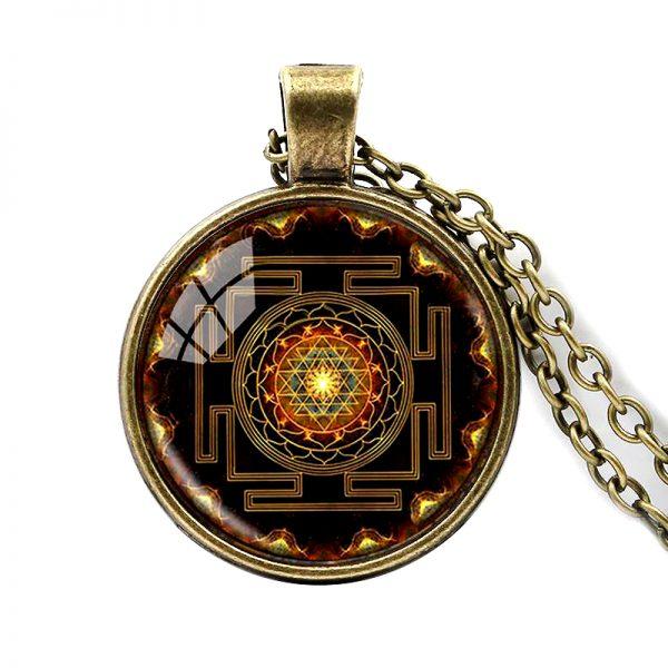 Heilige Sri Yantra Halskette bronze 01