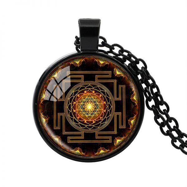 Heilige Sri Yantra Halskette schwarz 01