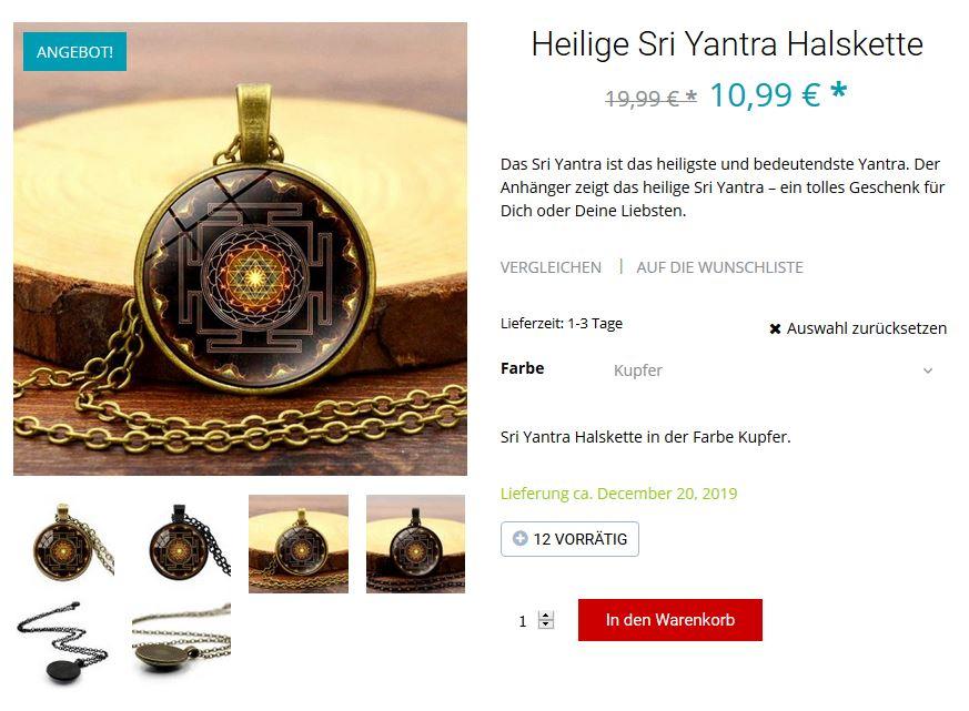 Heilige Sri Yantra Halskette Amanosa