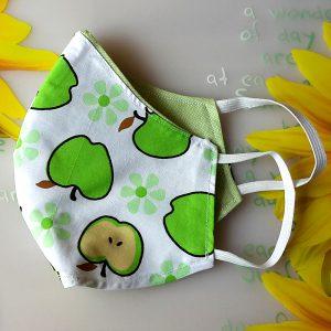 Mund Nasenmaske oval Apfel grün Seite
