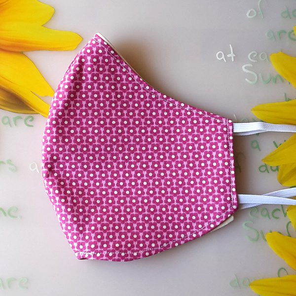 Mund Nase Maske oval Blumen rosa 4
