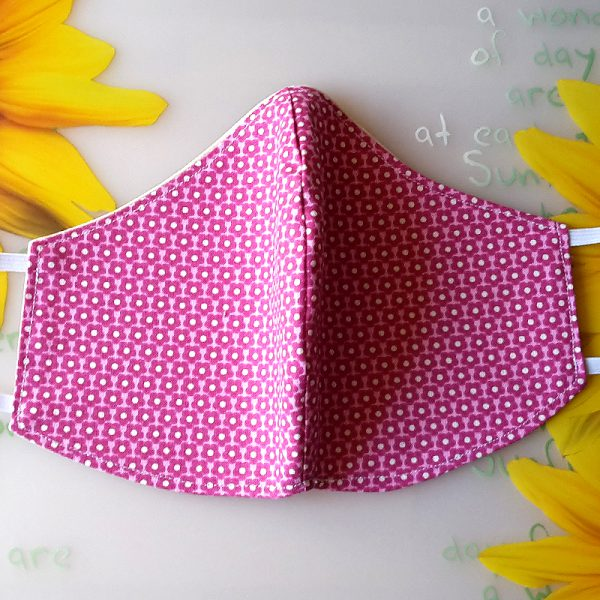 Mund Nase Maske oval Blumen rosa 3