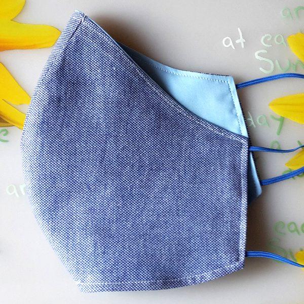 Mund Nasen Maske oval jeans blau_01