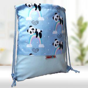 Stoffbeutel Kunstleder Panda Regenbogen 1