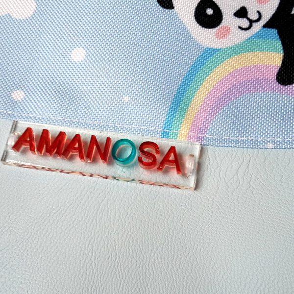 Stoffbeutel Kunstleder Panda Regenbogen 4