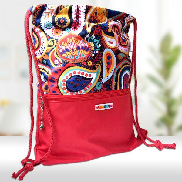 Stoffbeutel Tasche Reissverschluss Innentasche RotBunt 1
