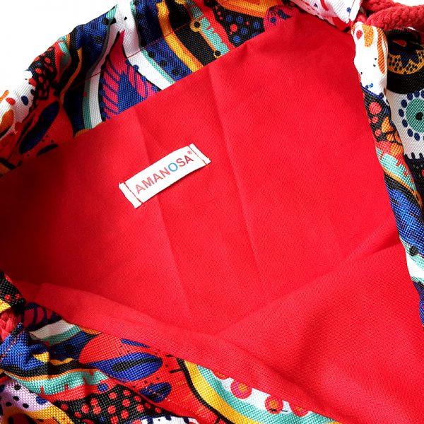 Stoffbeutel Tasche Reissverschluss Innentasche RotBunt 5
