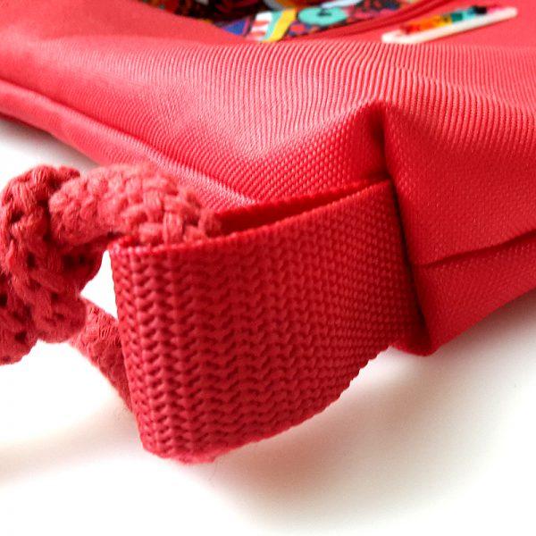 Stoffbeutel Tasche Reissverschluss Innentasche RotBunt 7