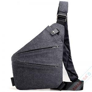 Brusttasche Schultertasche Anti-Diebstahl extra leicht anthrazit 1