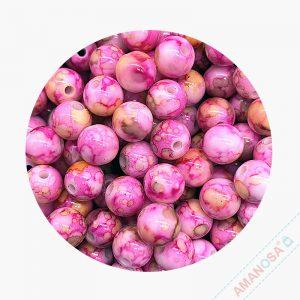 Acryl Perlen Blüte Krakelee rund 8mm pink