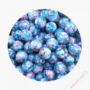 Acryl Perlen Bluete rund 8mm blau