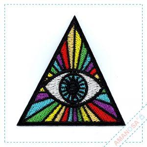 Aufnäher Bügelbild Patch Applikation Auge Regenbogen vorn