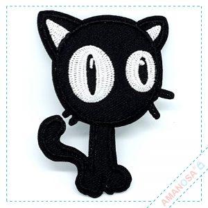 Aufnäher Bügelbild Patch Applikation Schwarze Katze vorn