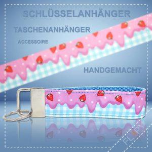 Schlüsselanhänger Taschenanhänger Erdbeer Eis