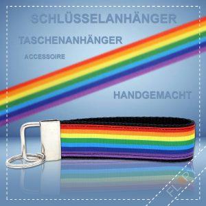 Schlüsselanhänger Taschenanhänger Regenbogen Streifen