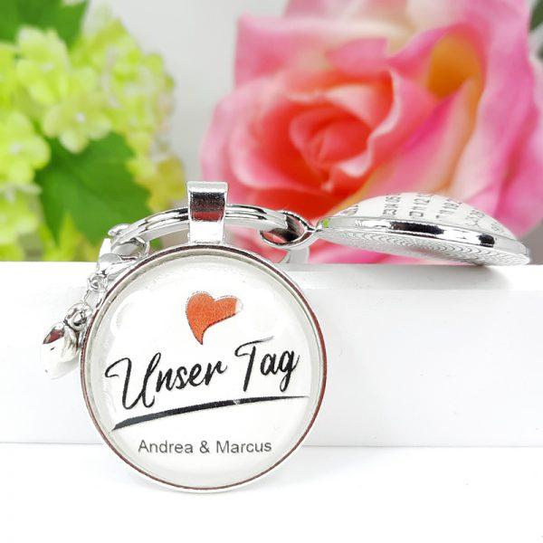 Schlüsselanhänger Personalisiert Hochzeit Verlobung Unser Tag Geschenk 01