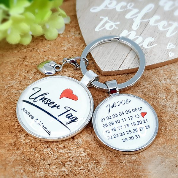 Schlüsselanhänger Personalisiert Hochzeit Verlobung Unser Tag Geschenk 02