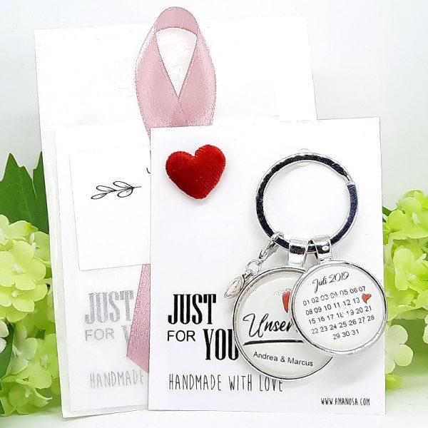 Schlüsselanhänger Personalisiert Hochzeit Verlobung Unser Tag Geschenk 04