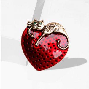 Brosche Erdbeere Katze 1